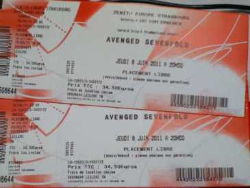 Photo : Propose à vendre Billet de concert COCNCERT AVENGED SEVENFOLD - STRASBOURG